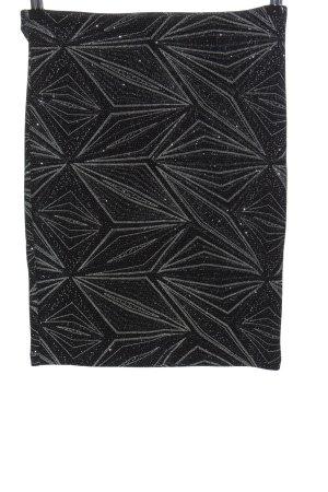 H&M Divided Minirock schwarz-silberfarben abstraktes Muster Casual-Look
