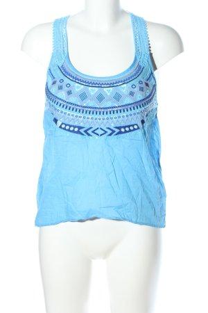 H&M Divided Top senza maniche blu-bianco motivo grafico stile casual