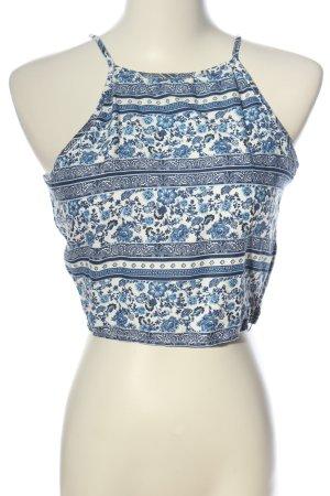 H&M Divided Haltertop wit-blauw bloemenprint casual uitstraling