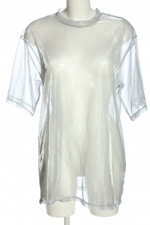 H&M Divided Mesh Shirt silver-colored wet-look