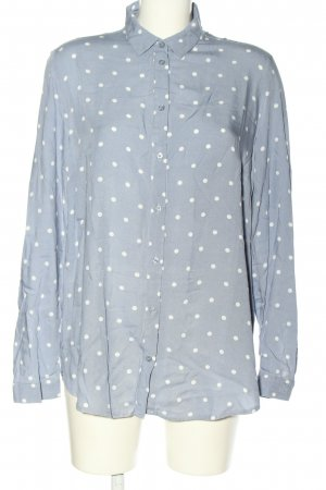 H&M Divided Oversized Bluse blau-weiß Allover-Druck Casual-Look