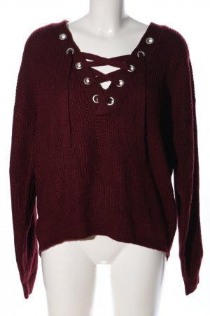 H&M Divided Oversized Pullover rot Zopfmuster Casual-Look