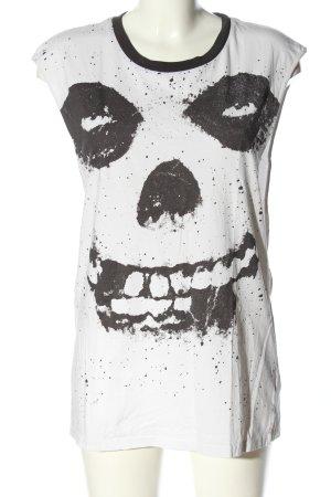 H&M Divided Oversized Shirt weiß-schwarz Motivdruck Casual-Look