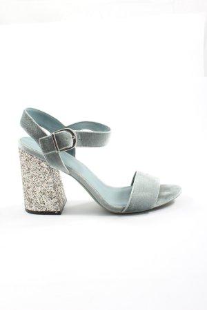 H&M Divided Platform High-Heeled Sandal blue-silver-colored elegant