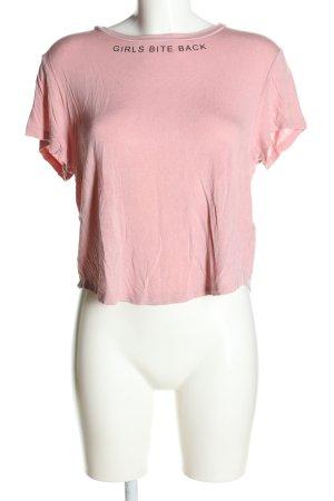 H&M Divided Print-Shirt pink Schriftzug gedruckt Casual-Look