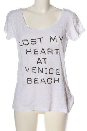 H&M Divided Print-Shirt weiß-schwarz Schriftzug gedruckt Casual-Look