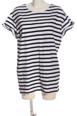 H&M Divided Koszulka w paski biały-czarny Wzór w paski W stylu casual