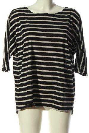 H&M Divided Koszulka w paski czarny-w kolorze białej wełny Wzór w paski