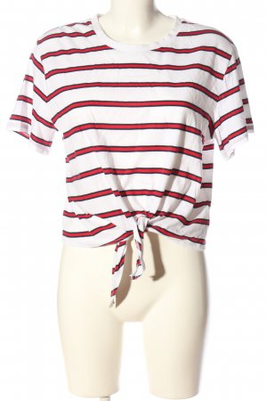 H&M Divided Ringelshirt weiß-rot Streifenmuster Casual-Look