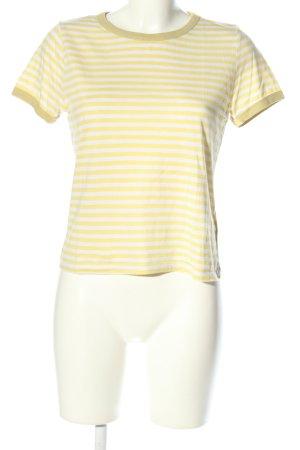 H&M Divided Ringelshirt weiß-blassgelb Streifenmuster Casual-Look