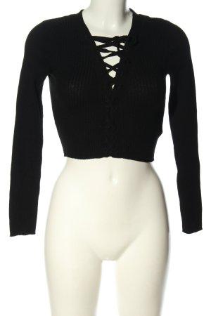 H&M Divided Prążkowana koszulka czarny W stylu casual
