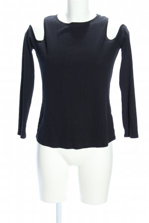 H&M Divided Rippshirt schwarz Casual-Look