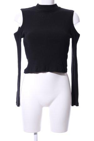 H&M Divided Rippshirt schwarz Casual-Look