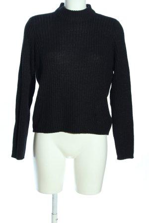 H&M Divided Rollkragenpullover schwarz Streifenmuster Casual-Look
