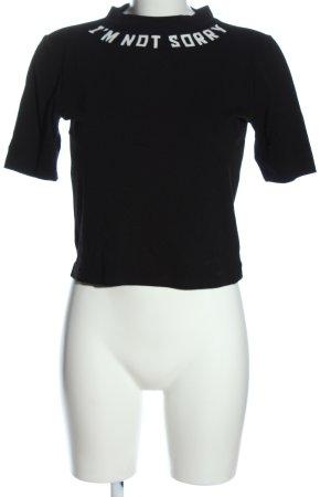 H&M Divided Rollkragenshirt schwarz Schriftzug gedruckt Casual-Look