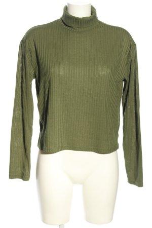 H&M Divided Camisa de cuello de tortuga caqui estampado a rayas look casual