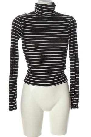 H&M Divided Turtleneck Shirt black-white striped pattern casual look
