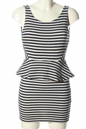 H&M Divided Frill Top white-black striped pattern casual look