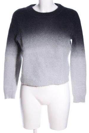 H&M Divided Rundhalspullover hellgrau-schwarz Farbverlauf Casual-Look