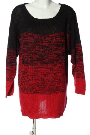 H&M Divided Rundhalspullover rot-schwarz meliert Casual-Look
