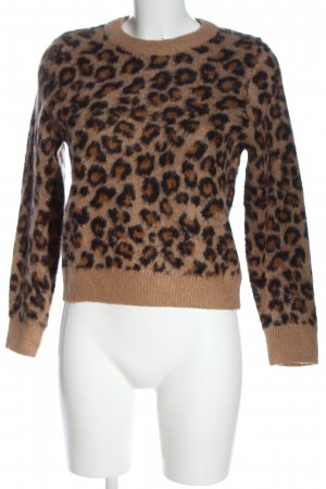 H&M Divided Crewneck Sweater brown-black allover print extravagant style