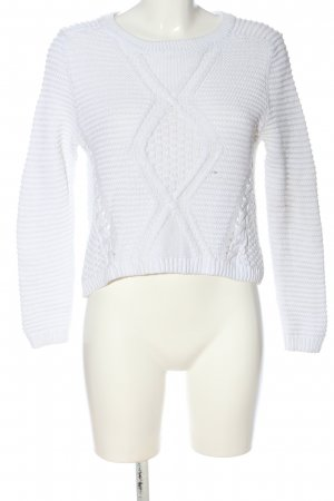 H&M Divided Rundhalspullover weiß Zopfmuster Casual-Look