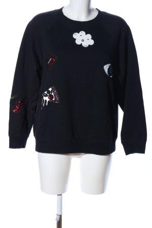 H&M Divided Rundhalspullover schwarz Motivdruck Casual-Look