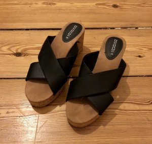 H&M Divided Sandalias de tacón negro-marrón claro Imitación de cuero
