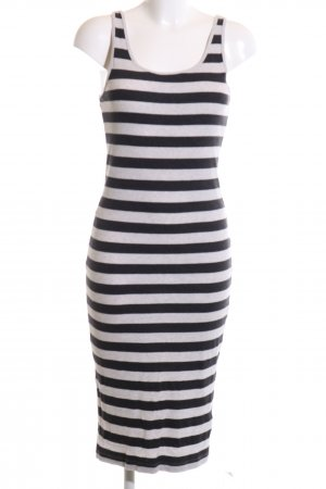 H&M Divided Tube Dress black-light grey striped pattern casual look