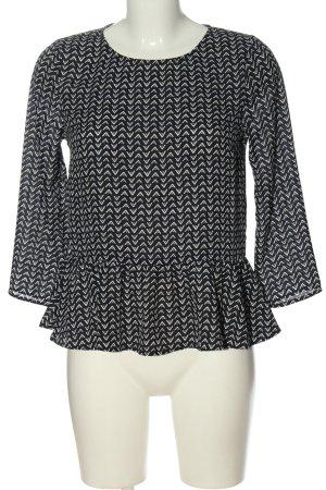 H&M Divided Schlupf-Bluse schwarz-weiß Allover-Druck Casual-Look