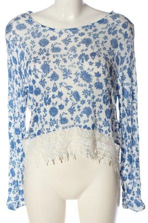 H&M Divided Schlupf-Bluse weiß-blau Allover-Druck Casual-Look