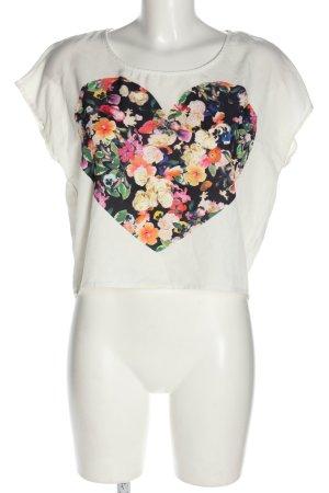 H&M Divided Schlupf-Bluse weiß Blumenmuster Casual-Look