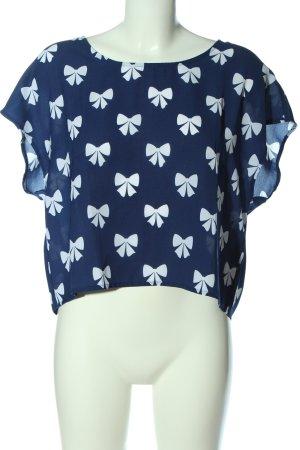 H&M Divided Schlupf-Bluse blau-weiß Motivdruck Casual-Look