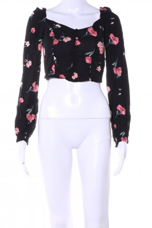 H&M Divided Schlupf-Bluse schwarz Blumenmuster Elegant