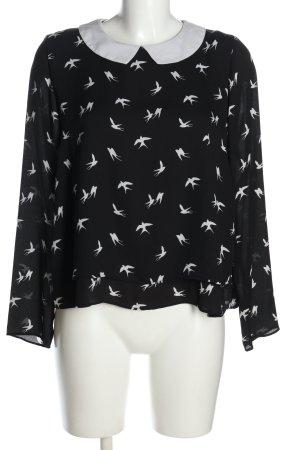 H&M Divided Schlupf-Bluse schwarz-weiß grafisches Muster Casual-Look