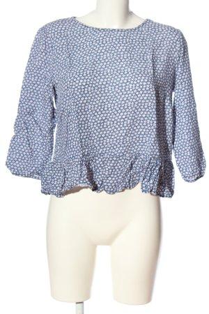H&M Divided Schlupf-Bluse blau-weiß Allover-Druck Casual-Look