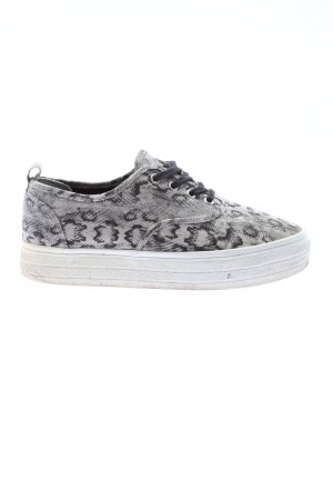 H&M Divided Schnürsneaker hellgrau-schwarz Animalmuster Casual-Look