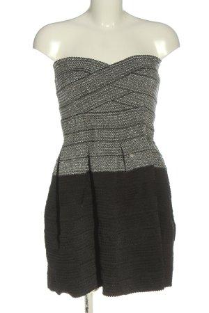 H&M Divided schulterfreies Kleid schwarz-hellgrau Elegant