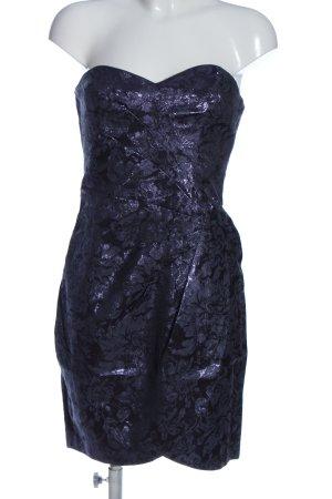 H&M Divided schulterfreies Kleid blau Allover-Druck Elegant