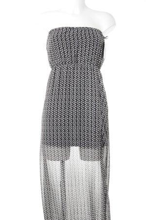 H&M Divided schulterfreies Kleid schwarz-weiß abstraktes Muster Casual-Look