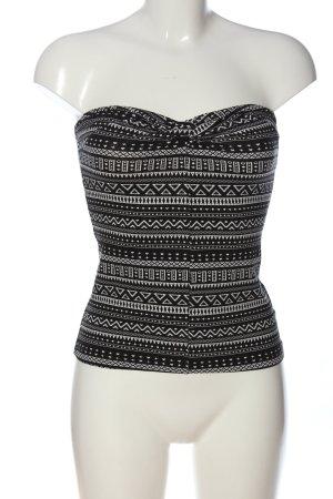 H&M Divided Hauts épaule nues noir-blanc imprimé allover style décontracté