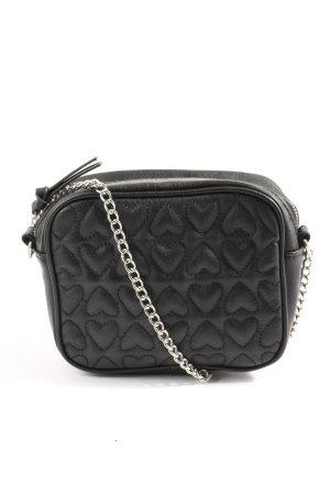 H&M Divided Bolsa de hombro negro estampado acolchado look casual