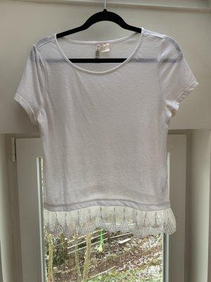 H&M Divided Shirt mit Spitzenkante Leinen weiß