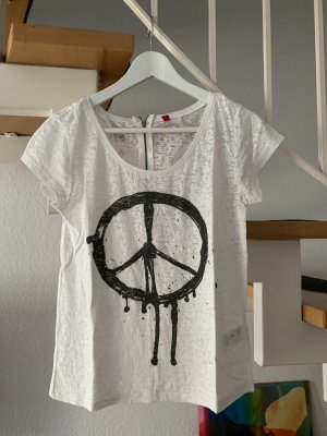 H&M Divided Shirt Peace Graffiti Semi transparent