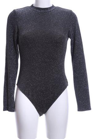 H&M Divided Shirtbody silberfarben-schwarz Glitzer-Optik