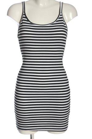H&M Divided Minikleid schwarz-weiß Streifenmuster Elegant