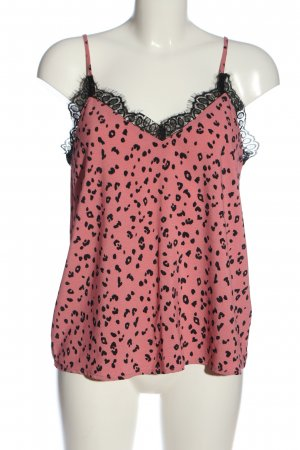 H&M Divided Spaghettiträger Top pink-schwarz Animalmuster Casual-Look