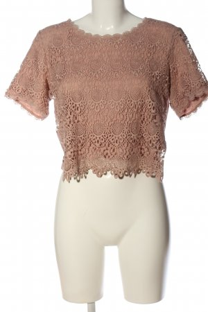 H&M Divided Spitzenbluse nude Zopfmuster Casual-Look