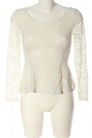 H&M Divided Lace Blouse white flower pattern casual look