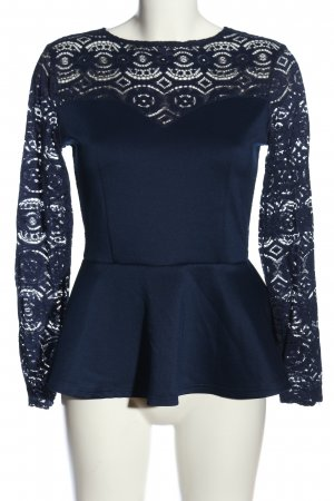 H&M Divided Spitzenbluse blau Webmuster Casual-Look